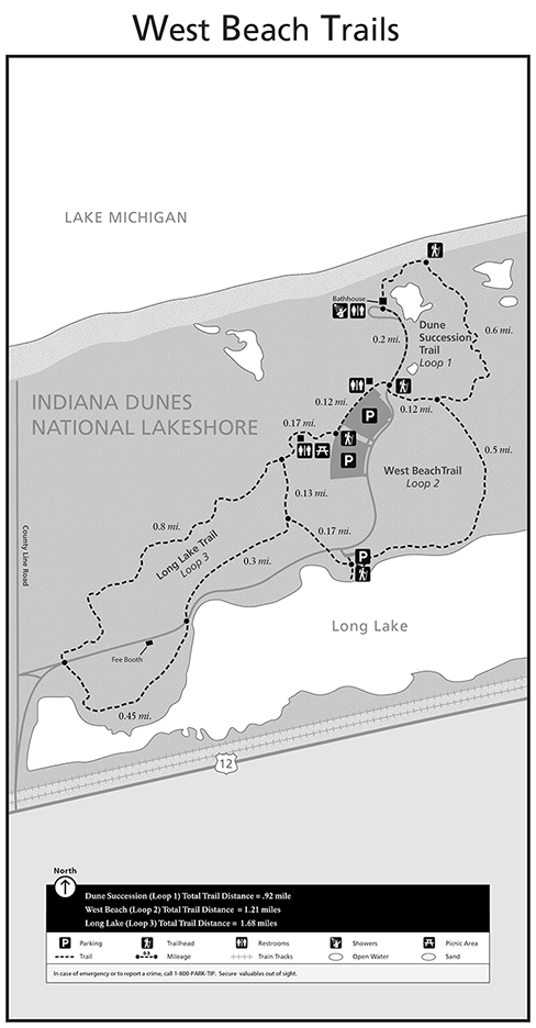 Map of the West Beach area of the Indiana Dunes National Lakeshore.