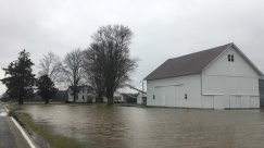 Flooding from a ditch in eastern Marshall County, Indiana
